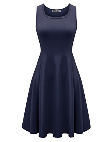 CUBEA Women Basic Cotton Tank Sleeveless Flared Mini Dress (Large, Navy) (Teen Sexy Dress)