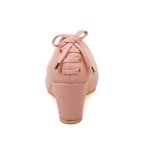 AllhqFashion Damen Ziehen auf Rund Zehe Mittler Absatz PU Rein Pumps Schuhe Pink