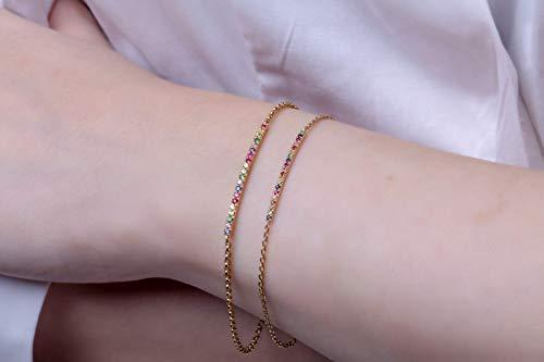 Rainbow bar bracelet, Dainty sapphire bracelet, Multi color bracelet, Bar bracelet, Delicate bracelet, bracelet, Diamond bracelet 3cmx0,18
