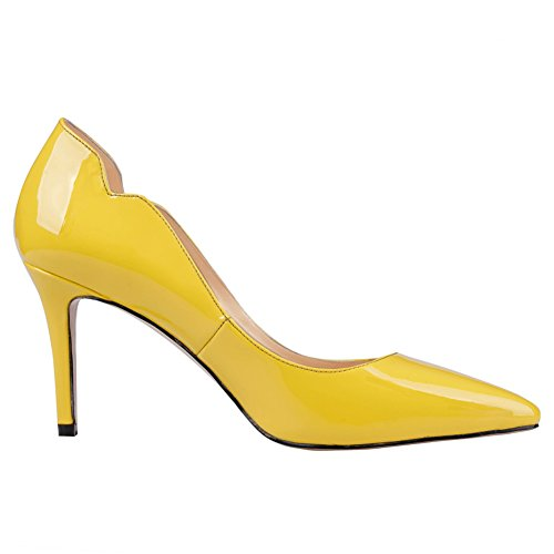 June Sexy Love patent on Women's Toe Pointy High Office Shoes Heels Pumps Slip Stiletto In Yellow rC1rqwT