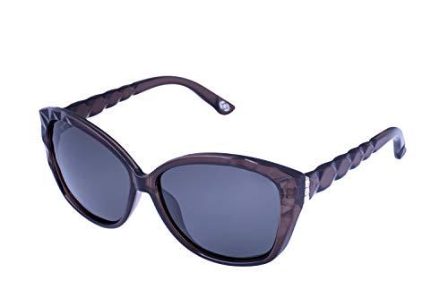 (13Fifty HONOLULU Oversized Cateye Women's Polarized Sunglasses :: Grey, Smoked Polarized)