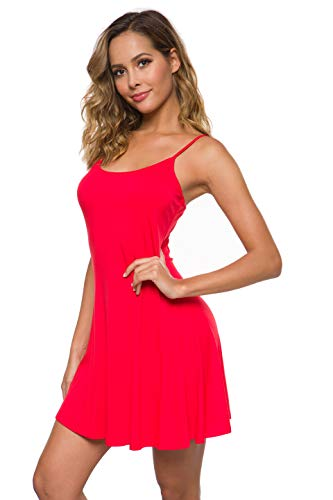 Coreal Women's Basic Adjustable Sleeveless Slip Swing Dress Spaghetti Strap Cami Under Mini Nightwear Red Small ()