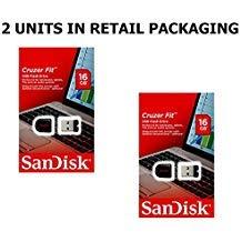 SanDisk Cruzer Fit 16GB (2 pack) SDCZ33-016G USB 2.0 Flash Drive Jump Drive Pen Drive SDCZ33-016G - 16GB x 2 = 32GB