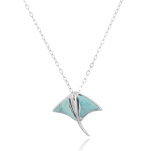 NRG Jewelry 925 Sterling Silver Pendant with Genuine Larimar AA Stone