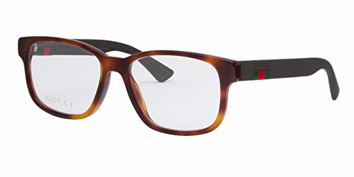 Gucci GG 0011O 002 Havana Plastic Square Eyeglasses - Brown Gucci