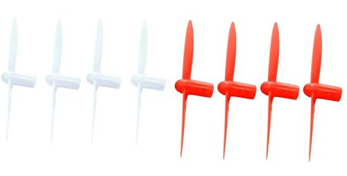 HobbyFlip Red and White 30mm Propellers 1 Set of 4 Each Compatible with Sharper Image DX-1 Micro Drone