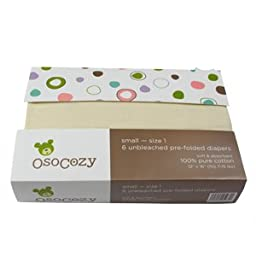 OsoCozy - Prefolds Unbleached Cloth Diapers, Size 2, 6 Count - Soft, Absorbent and Durable 100% Indian Cotton Natural Diapers For Babies - Highest Quality & Best-Selling Cloth Diapers Sold Online