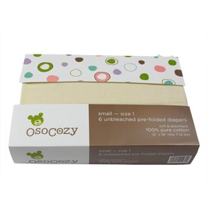 OsoCozy - Prefolds Unbleached Cloth Diapers, Size 1, 6 Count - Soft, Absorbent and Durable 100% Indian Cotton Natural Diapers For Infants - Highest Quality & Best-Selling Cloth Diapers Sold Online