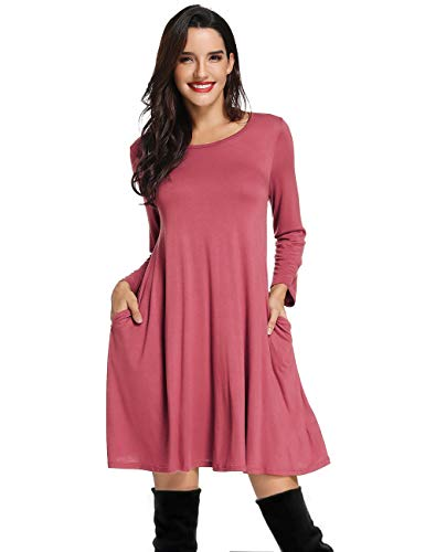 Dress Pockets Shift Casual Short T Dress Shirt Dress Pink Bean Sleeve with Loose Swing Dress Long Azalosie Plain vqE04vw