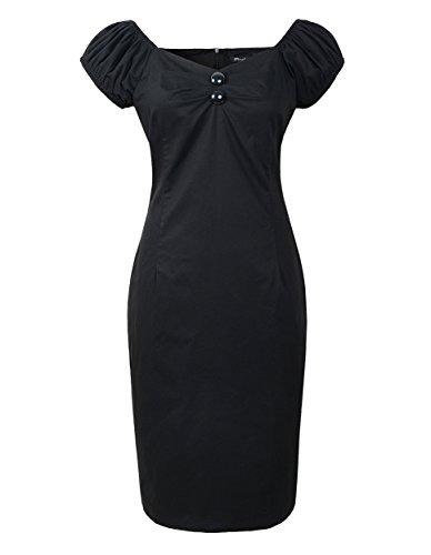 - 50s Vintage Retro Dolores Pencil Dress Rockabilly Pinup (XL, Black)
