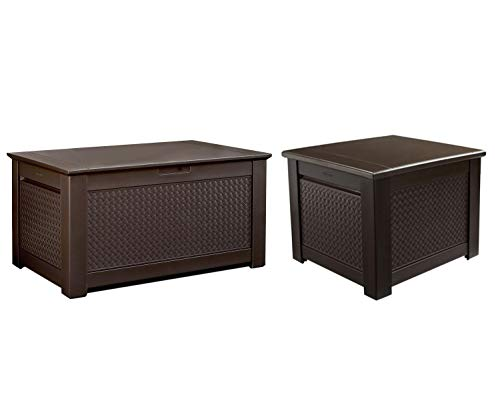 - Rubbermaid Patio Chic 93 Gal. Weave Patio Storage Bench Deck Box, Brown Bundle Patio Chic 56 Gal. Weave Patio Storage Cube Deck Box, Brown