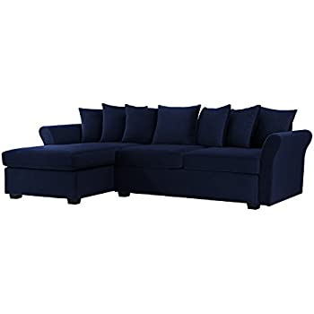 Modern Large Velvet Sectional Sofa, L Shape Couch With Extra Wide Chaise  Lounge (