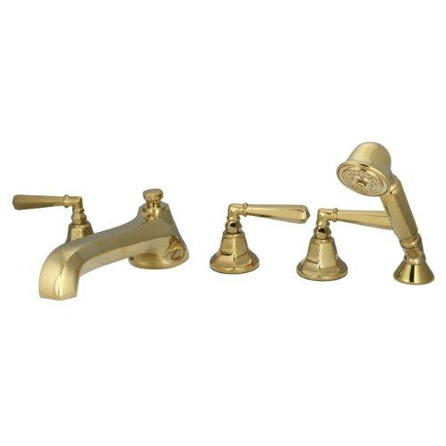 Kingston Brass KS43025HL Metropolitan Roman Tub Filler with Hand Shower with Metal lever handle, Polished Brass, 5-Piece ()