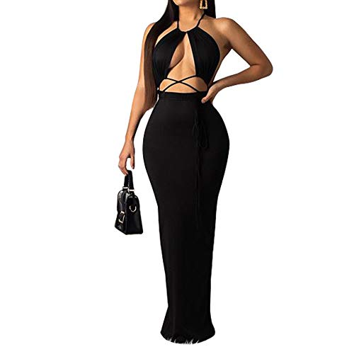 Womens Sexy Bodycon Long Dresses - Halter Sleeveless Solid Cami Warp Top Slim Fit Summer Beach Dresses Black S ()
