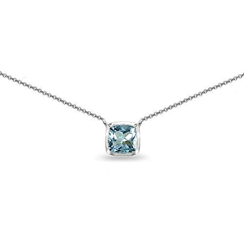 Sterling Silver Blue Topaz Cushion-Cut Bezel-Set Solitaire Choker Necklace