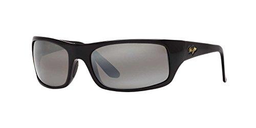 Maui Jim Peahi 202-02 | Polarized Rectangular Sunglasses, Gloss Black, with Patented PolarizedPlus2 Lens Technology ()