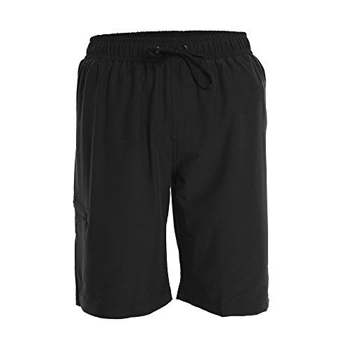 Fort Isle Men's Boardshorts - M - Black - Perfect Swimsuit, Swim Trunks, Board Shorts, Workout or Athletic Shorts For The Beach, Lifting, Running, Surfing, Pool, Gym. For Adults, Men's Boys