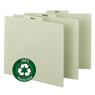Recycled Top Tab File Guides, Monthly, 1/3 Tab, Pressboard, Letter, 12 per Set (1/3 Pressboard Tab Self Letter)