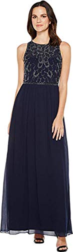 Adrianna Papell Women's Sleeveless Beaded Georgette Gown Midnight 8