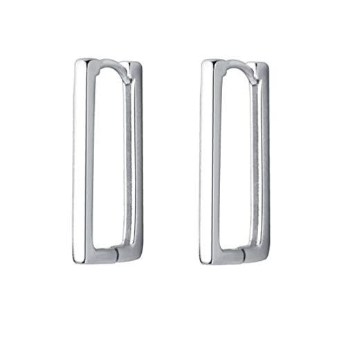 Rectangle Minimalist Sterling Silver Small Hoop Earrings for Women Girls Cartilage Dainty Huggie Hoops 20mm
