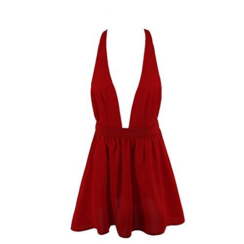 Da Halter Notte Donna Sexy Intima Sesso Tentazione Biancheria Indumenti Rosso Vestito 6RUxEwqx8t