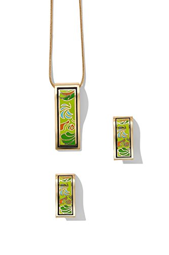 rectangle-necklace-with-pierced-stud-earrings-snake-chain-floral-enamel-jewel-set-spring-green-orang