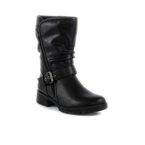 Black Buckle Biker Boots - 6