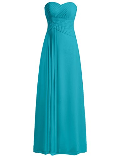 JAEDEN Bridesmaid Dress Prom Dresses Long Sweetheart Chiffon Evening Gown Pleat Strapless Dark Turquoise S