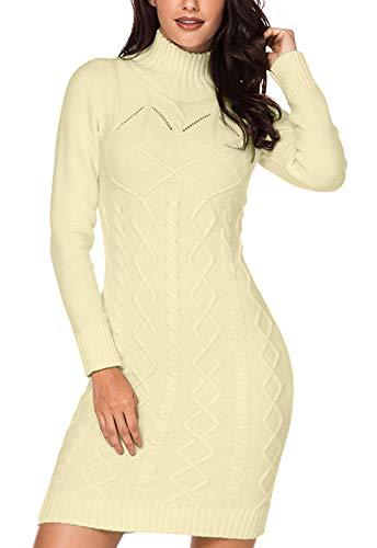 GOSOPIN Women Winter Cozy Slim Long Sleeve Turtleneck Knit Sweater Dress Large Beige