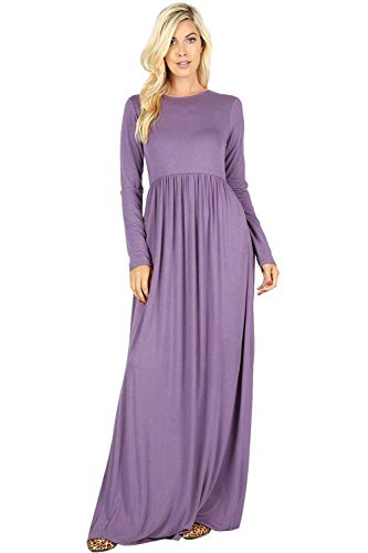 Maxi Dresses for Women Solid Lightweight Long Casual Short Sleeve W/Pocket-Lilac Grey ()