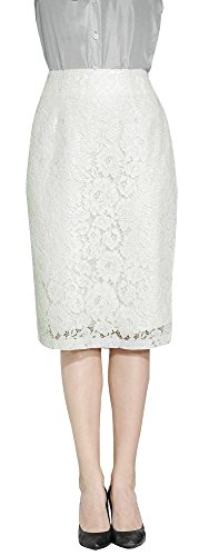 Marycrafts Women's Lace Lined Pencil Knee Length Midi Skirt S Ivory White Floral