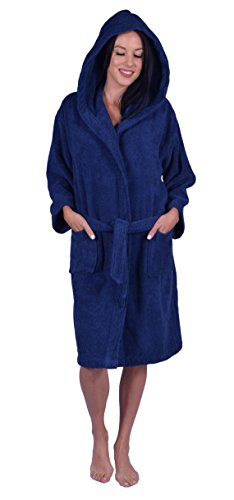 Kids Terry Hooded Robe for Boys and Girls, 100% Turkish Natural Soft Cotton, Made in TURKEY (X-Large, Navy) (Robe Cotton Boys)