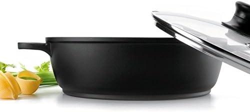 LACOR Faitout Bas Induction en Fonte d'aluminium avec Couvercle en Verre - Ø 24 cm Fonte Forte