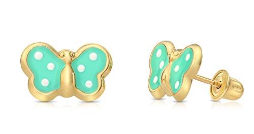 Children's 14k Yellow Gold Enamel Butterfly Stud Earrings with Secure Screw-backs (Pastel Green) ()