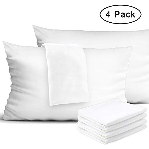 IDEALHOUSE 4-Pack Zippered Pillow Protectors 100% Egyptian Cotton Pillow Covers Protection 400 Thread Count Pillow Cases 20 x 26 inch (Standard)