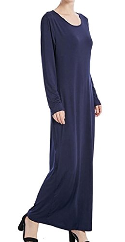 1 Long Round Muslim Sleeve Womens Neck Dress Solid Maxi Abaya Jaycargogo YxpqvEw