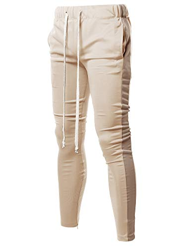 Style by William Casual Side Panel Long Length Drawstring Ankle Zipper Track Pants Beige Khaki L