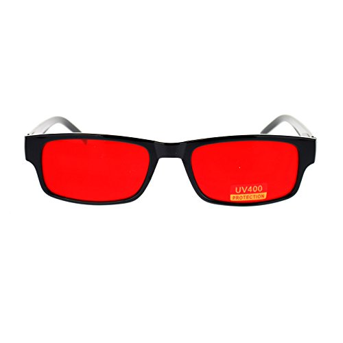 Mens Small Face Snug Fit Color Lens Rectangular Plastic Frame Sunglasses - Colour Red Sunglasses