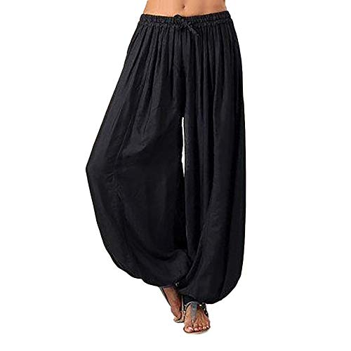 AmyDong Women Plus Size Solid Color Casual Loose Harem Pants Yoga Pants Women Trousers Black (Best Delivery In Austin)