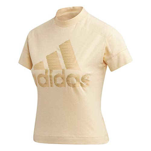 adidas Womens Badge of Sports Tee Athletic Trefoil Logo Short Sleeves T-Shirts (Glow Orange, Small (S)) 1