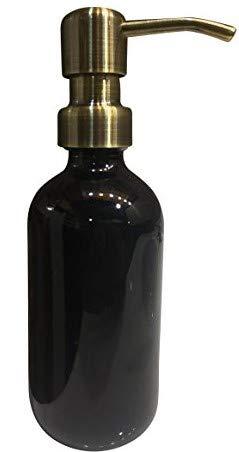 Industrial Rewind Black Glass Soap Dispenser with Brass Color Metal Pump - 16oz Black Glass Jar Lotion Bottle (Black/Brass) (Brass Decorative Soap Dispenser)
