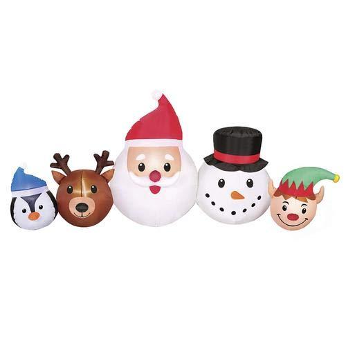 Enchanted Forest Christmas Inflatable North Pole Scene Santa Elf Snowman Reindeer Penguin Group 8.5 ft Wide LED Lights -