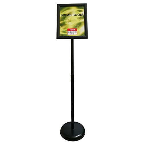 HAITIAN Sign Holder Poster Stand - Fits for 8.5 X 11 Inch Poster, Adjustable Stand Height, Poster Frame Revolvable To Either Horizontal or Vertical View Display, Metal Material Color Black -