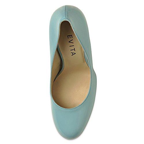 Piel mujer Evita de Turquesa de Shoes para Zapatos vestir Turquesa SvaxxqPAfF