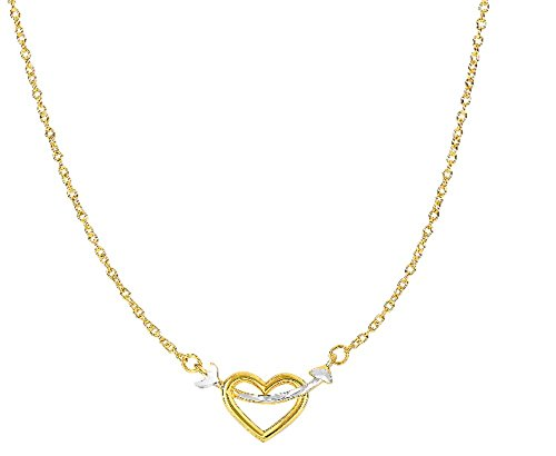 Open Oval Link Necklace - Necklace In 14k Yellow+White Gold Arrow Through Open Heart Anchor On Oval Link