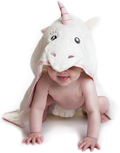 Hooded Baby Towel Pink Unicorn, Natural Cotton (Pink, Small) Soft and Absorbent Bath Towels with Hood for Babies, Toddlers, Perfect Baby Shower Gift for Girls by Little Tinkers World
