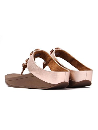 FitFlop™ Women's Halo™ Toe Post Leather Sandal Rose Gold-Gold-5 Size 5