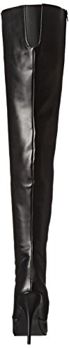 Seduce Faux Nero Donna Pleaser 3010 Stivaletti Leather Blk ZTccP84
