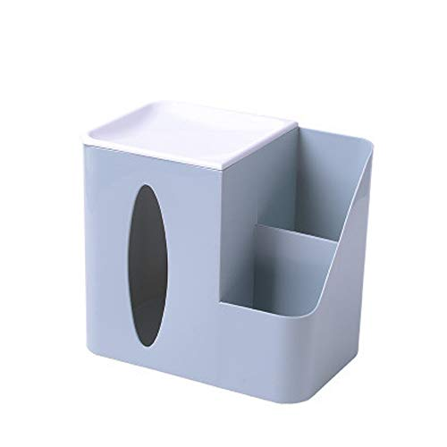 Home Offfice Multi-Function Desk Stationery Organizer Storage Box, Pen/Pencil,Cell Phone, Business Name Cards, Note Paper, Remote Control Holder Tissue Box (Light Blue)