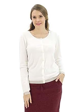 BENANCY Women's Button Down Scoop Neck Long Sleeve Soft Knit Cardigan Sweater White XS